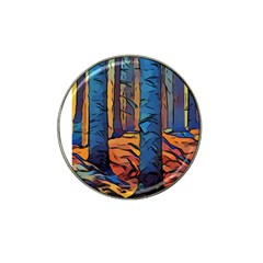 Woods Trees Abstract Scene Forest Hat Clip Ball Marker