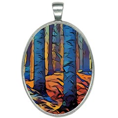 Woods Trees Abstract Scene Forest Oval Necklace
