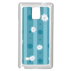 Gardenia Flowers White Blue Samsung Galaxy Note 4 Case (white)
