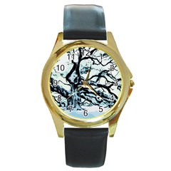 Tree Winter Blue Snow Cold Scene Round Gold Metal Watch