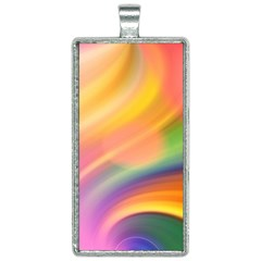 Wave Watercolor Watercolour Rectangle Necklace