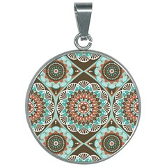 Seamless Pattern Colorful Wallpaper 30mm Round Necklace by Pakrebo