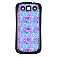 Flowers Light Blue Purple Magenta Samsung Galaxy S3 Back Case (black) by Pakrebo