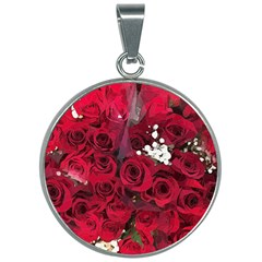 Roses Baby S Breath Bouquet Floral 30mm Round Necklace