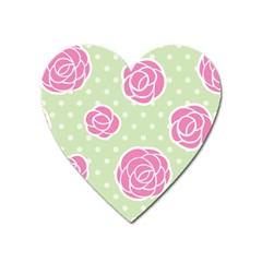 Roses Flowers Pink And Pastel Lime Green Pattern With Retro Dots Heart Magnet by genx