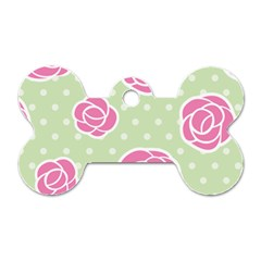 Roses Flowers Pink And Pastel Lime Green Pattern With Retro Dots Dog Tag Bone (one Side) by genx