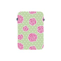 Roses Flowers Pink And Pastel Lime Green Pattern With Retro Dots Apple Ipad Mini Protective Soft Cases by genx