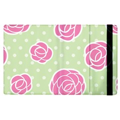 Roses Flowers Pink And Pastel Lime Green Pattern With Retro Dots Apple Ipad Mini 4 Flip Case by genx