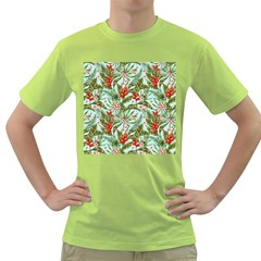 Green Leaves And Red Flowers Green T Shirt by goljakoff