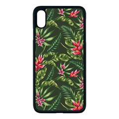 Green Leaves And Red Flowers Iphone Xs Max Seamless Case (black) by goljakoff