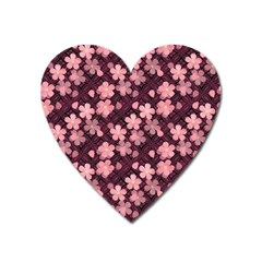 Cherry Blossoms Japanese Style Pink Heart Magnet by Pakrebo