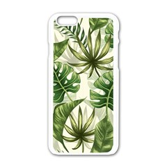Green Monstera Leaves Iphone 6/6s White Enamel Case by goljakoff