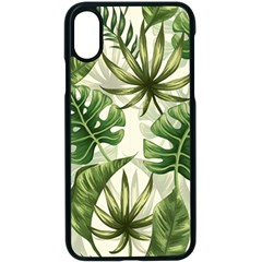 Green Monstera Leaves Iphone Xs Seamless Case (black)