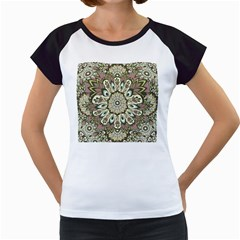 Seamless Pattern Abstract Mandala Women s Cap Sleeve T