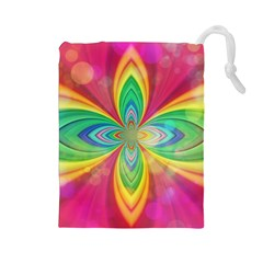 Color Abstract Form Ellipse Bokeh Drawstring Pouch (large)