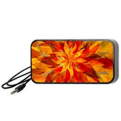 Flower Blossom Red Orange Abstract Portable Speaker
