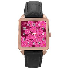 Cherry Blossoms Floral Design Rose Gold Leather Watch