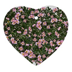 Pink Flowers Leaves Spring Garden Ornament (heart)