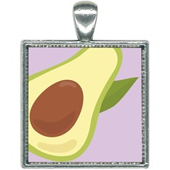 Light Green Retro Avocado Pattern On Pastel Violet Background Square Necklace by genx