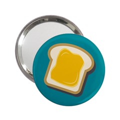 Toast With Cheese Funny Retro Pattern Turquoise Green Background 2 25  Handbag Mirrors by genx