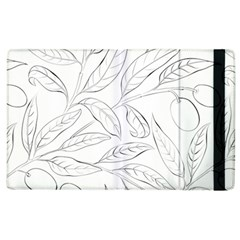 Organic Olive Leaves Pattern Hand Drawn Black And White Apple Ipad 2 Flip Case by genx