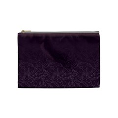 Organic Olive Leaves Pattern Hand Drawn Purple Red Wine Cosmetic Bag (medium) by genx