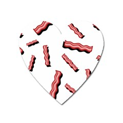 Funny Bacon Slices Pattern Infidel Red Meat Magnet (heart) by genx