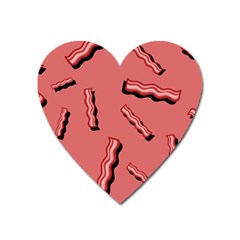 Funny Bacon Slices Pattern Infidel Vintage Red Meat Background  Heart Magnet by genx