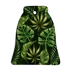 Green Tropical Leaves Bell Ornament (two Sides) by goljakoff