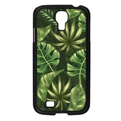 Green Tropical Leaves Samsung Galaxy S4 I9500/ I9505 Case (black) by goljakoff