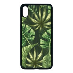 Green Tropical Leaves Iphone Xs Max Seamless Case (black) by goljakoff