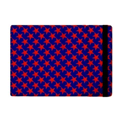 Red Stars Pattern On Blue Ipad Mini 2 Flip Cases by BrightVibesDesign