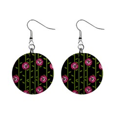 Abstract Rose Garden Mini Button Earrings