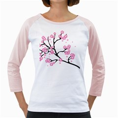 Blossoms Branch Cherry Floral Girly Raglan