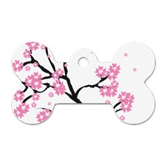 Blossoms Branch Cherry Floral Dog Tag Bone (one Side)