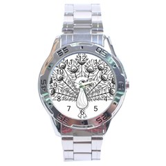 Peacock Plumage Display Bird Stainless Steel Analogue Watch by Pakrebo