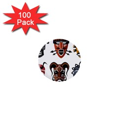 Tribal Masks African Culture Set 1  Mini Buttons (100 Pack)  by Pakrebo
