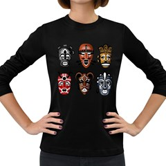 Tribal Masks African Culture Set Women s Long Sleeve Dark T Shirt