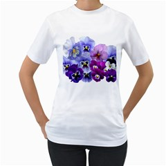 Pansy Isolated Violet Nature Women s T Shirt (white) (two Sided)