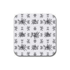 Black And White Ethnic Design Print Rubber Coaster (square)  by dflcprintsclothing