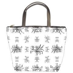 Black And White Ethnic Design Print Bucket Bag by dflcprintsclothing