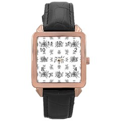 Black And White Ethnic Design Print Rose Gold Leather Watch  by dflcprintsclothing