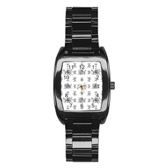 Black And White Ethnic Design Print Stainless Steel Barrel Watch by dflcprintsclothing