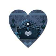 Elegant Heart With Steampunk Elements Heart Magnet by FantasyWorld7