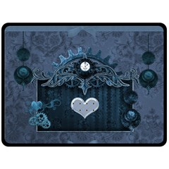 Elegant Heart With Steampunk Elements Double Sided Fleece Blanket (large)  by FantasyWorld7