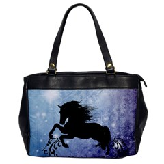 Wonderful Black Horse Silhouette On Vintage Background Oversize Office Handbag by FantasyWorld7