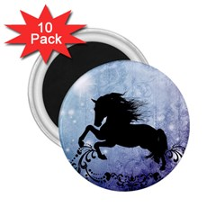 Wonderful Black Horse Silhouette On Vintage Background 2 25  Magnets (10 Pack)