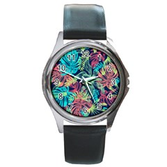 Fancy Tropical Pattern Round Metal Watch by tarastyle