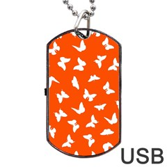Butterfly Pattern Dog Tag Usb Flash (two Sides) by tarastyle