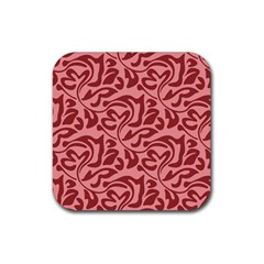 Red Floral Pattern Rubber Coaster (square)  by tarastyle